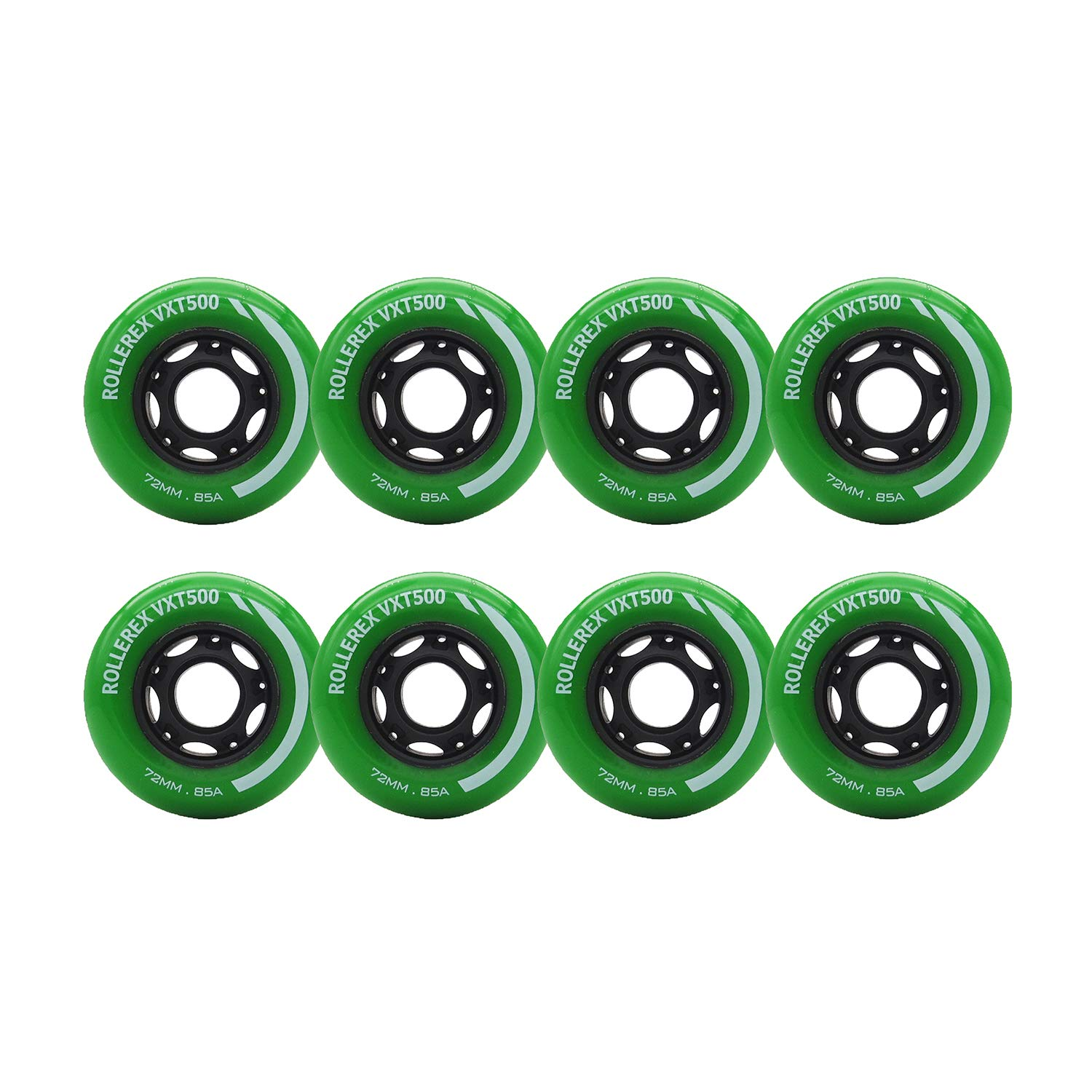 Rollerex VXT500 Inline Skate Wheels (8-Pack) (Turf Green, 72mm) by Rollerex