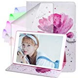 A-BEAUTY Case for Samsung Galaxy Tab A 8.0 2019(SM-T290/T295), with Screen Protector, wallet Stand Slim PU Leather [Card Slots] Cover Without S Pen, Purple Orchid