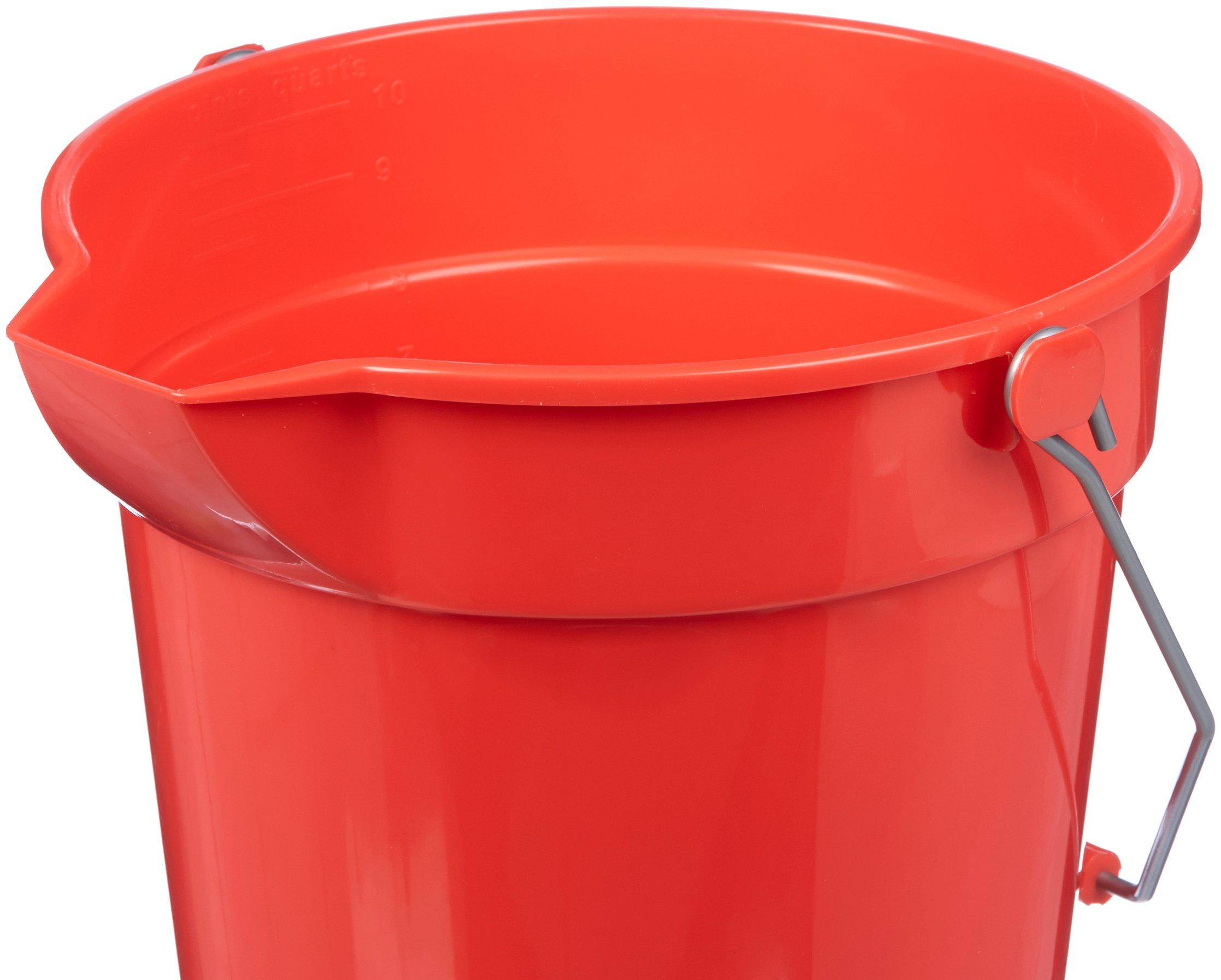 AmazonBasics 10 Quart Plastic Cleaning Bucket, Red - 6-Pack by AmazonBasics (Image #2)