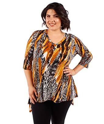 3c81823d609 Womens Plus Size Tunic Top Animal Print at Amazon Women s Clothing ...