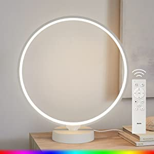Albrillo Bedside Lamp -- Circle LED Table Lamp with Remote Control, 6 Lighting Effects, Memory Function, 4 Lighting Speeds, RGB Color Changing Nightstand Lamp, Decorative Light for Home, Office