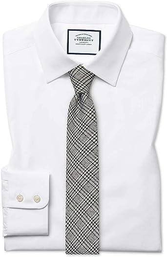 Camisa Blanca de Popelina de algodón Egipcio Extra Slim fit: Amazon.es: Ropa y accesorios