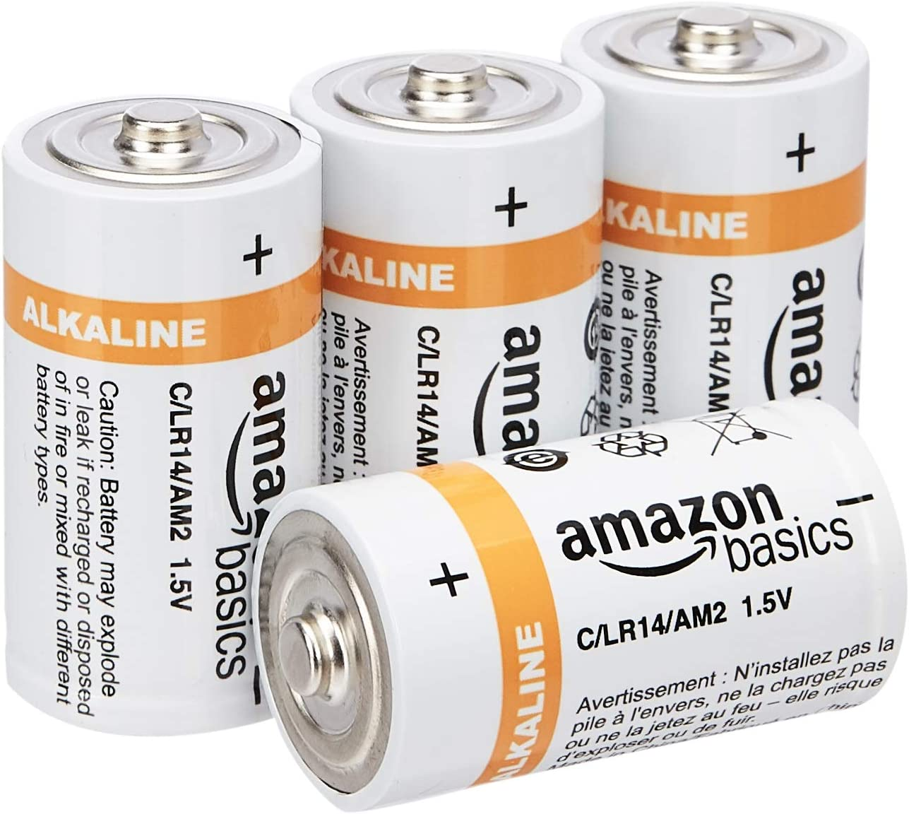 AmazonBasics C Cell Everyday 1.5 Volt Alkaline Batteries - Pack of 4