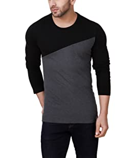 fabstone collection Men's Cotton Round Neck Long Sleeve (Black, M)