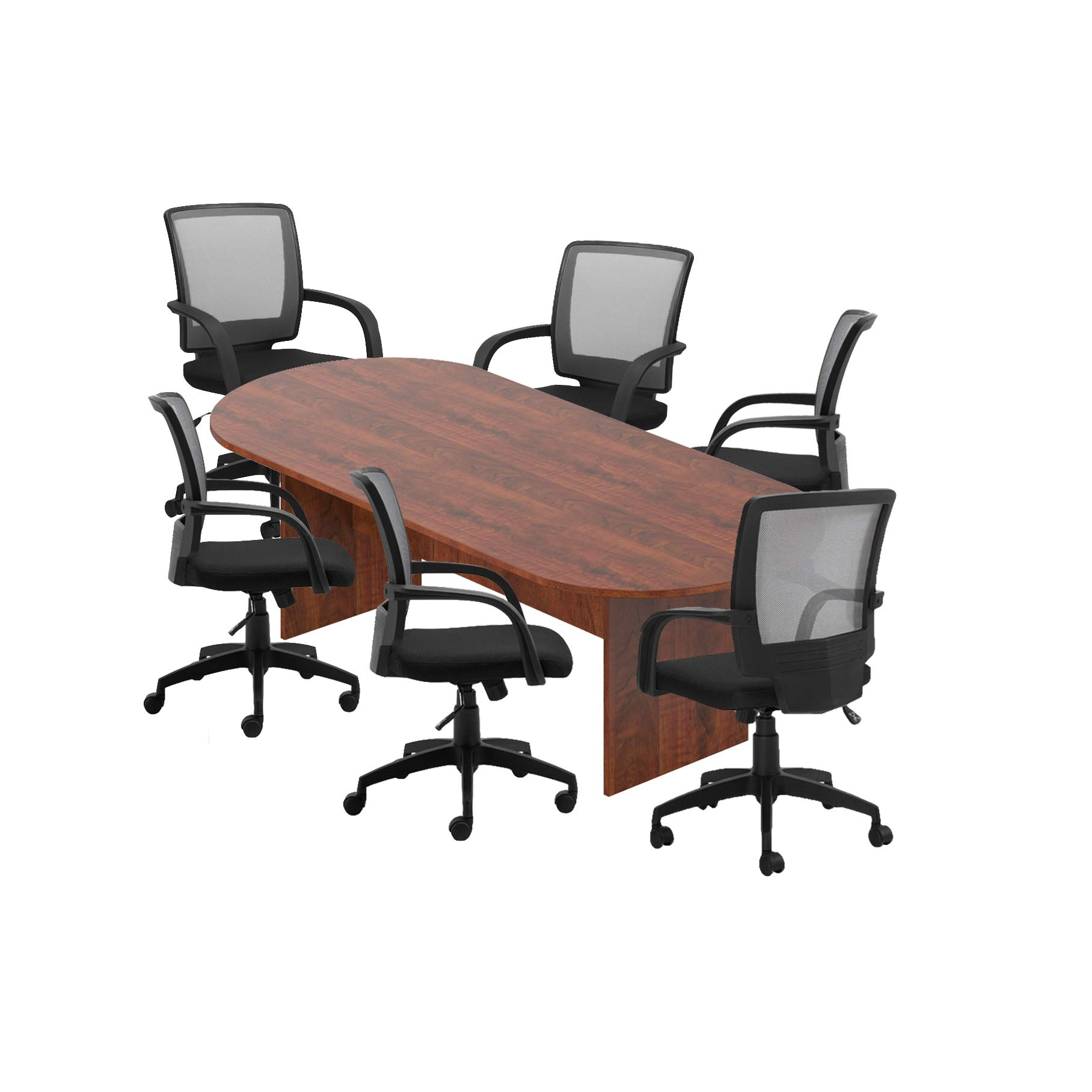 GOF 6FT, 8FT, 10FT Conference Table Chair Set, Cherry, Espresso, Mahogany, Walnut (8FT with 6 Chairs, Dark Cherry)
