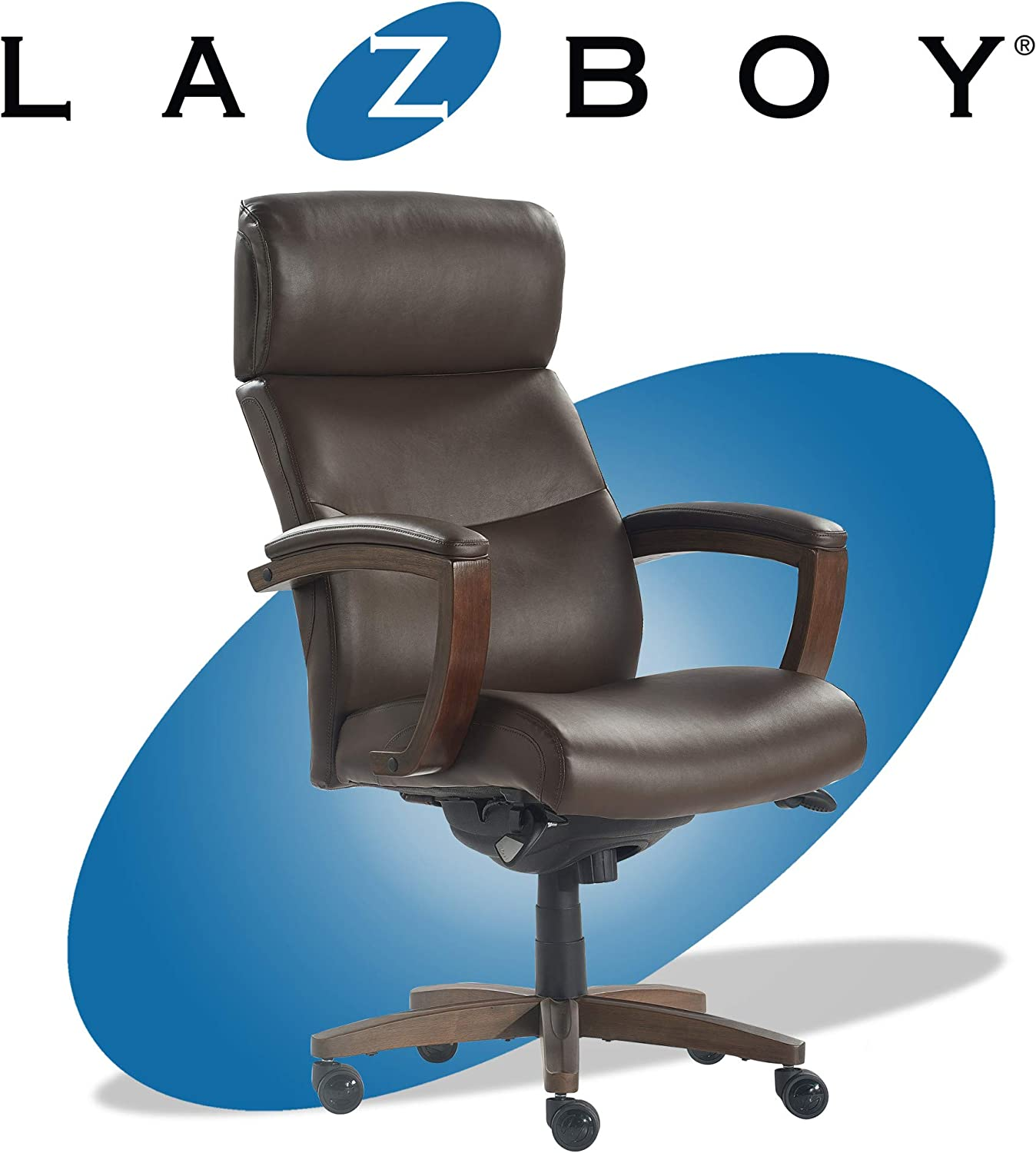 La-Z-Boy Greyson Modern Executive Office Chair, Solid Wood Arms and Wheeled Base, Ergonomic High-Back Lumbar Support, Bonded Leather, Brown