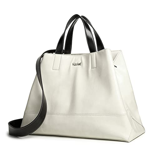 e0780d5b6521 Kadell Women PU Leather Tote Bag Handbags Satchel Purse Top Handle Triangle  Shoulder Bag Beige