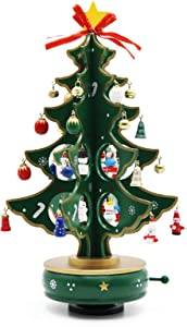 Cosaving Christmas Tree Rotate Music Box with Ornaments Mini Wooden Tabletop Christmas Tree with Music Gift for Xmas Holiday Decor, 13 inch