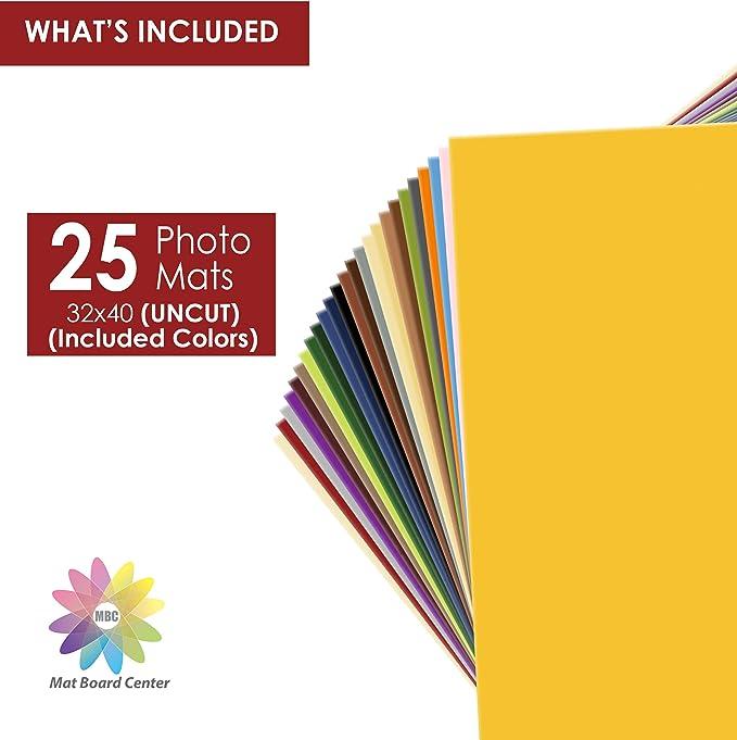 Mattenbrett In Der Mitte 25 Stück 32 X 40 Cm Ungeschnittene Matten Cremefarbener Kern Verschiedene Farben Komplettes Blatt