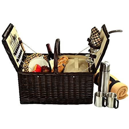 Picnic at Ascot Surrey Willow Picnic Basket with Service for 2 with Blanket and Coffee Set- Designed, Assembled Quality Approved in the USA