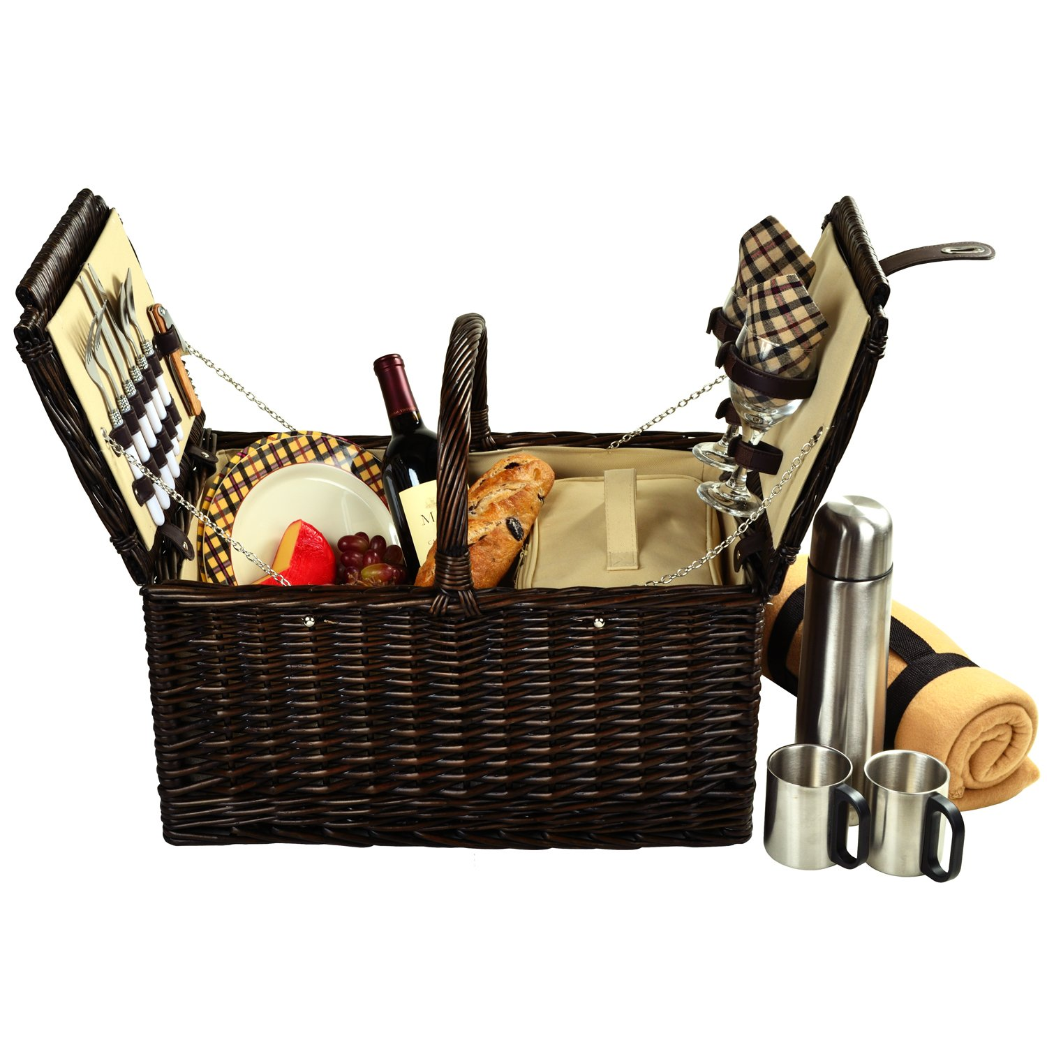 Picnic at Ascot Surrey Willow Picnic Basket with Service for 2 with Blanket and Coffee Set - London Plaid