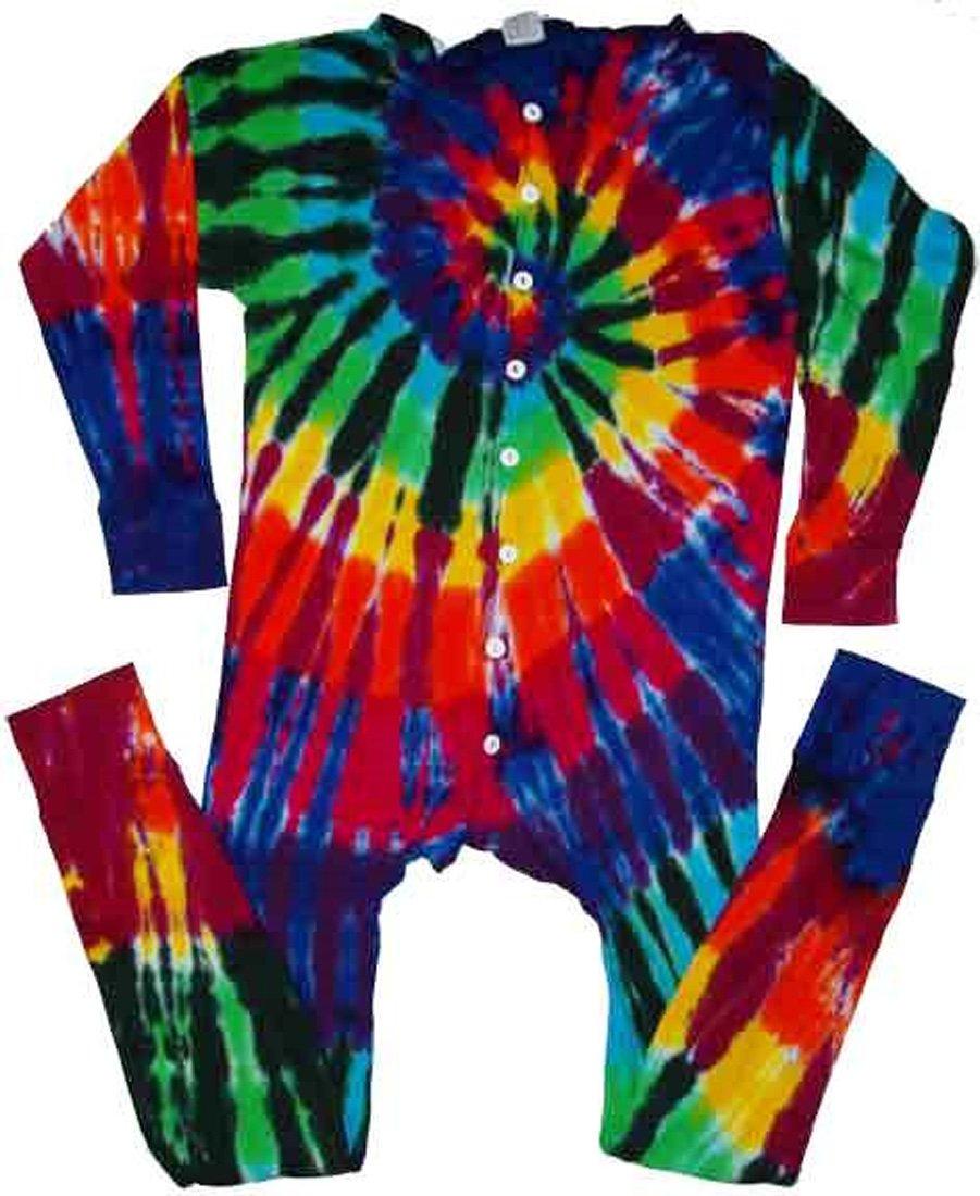 Tie Dyed Shop Men's Extreme Spiral Tie Dye Union Suit-Large-Multicolor