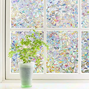 Finnez Window Film Decorative Privacy Film 3D No Glue Holographic Glass Sticker for Glass Door Home House Ofiice Heat Control Anti UV 35.4 x 78.7 inches