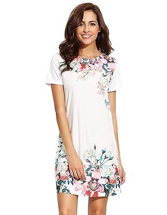22fc707d6b8 Floerns Women's Floral Print Short Sleeve Casual Top Shirt Dress White XS