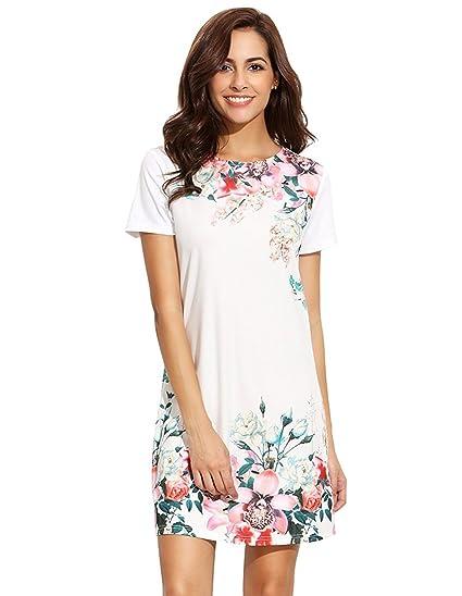 a6f482c488d76 Floerns Women's Floral Print Short Sleeve Casual Top Shirt Dress