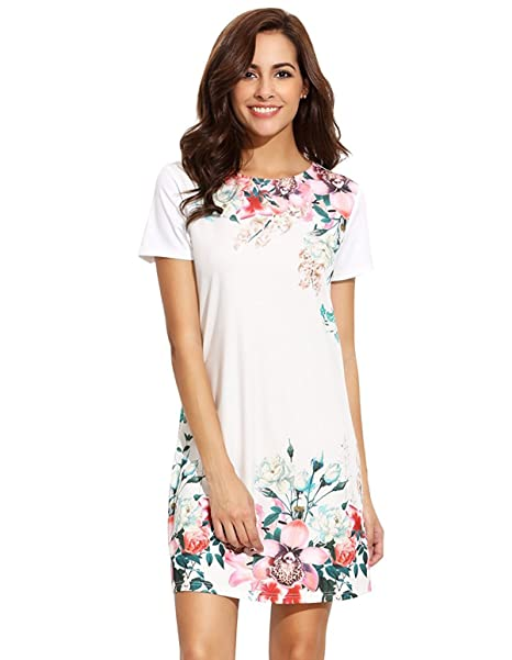 788afb8c881 Floerns Women s Floral Print Short Sleeve Casual Top Shirt Dress White XS