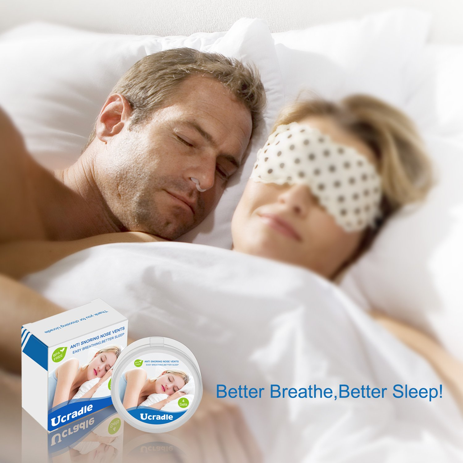 Anti Snoring Solution Nose Vents - Instand Relief Snore Device - Natural Aids Ease Breath Snore Relief - Set of 4 with Travel Case by Ucradle (Image #5)