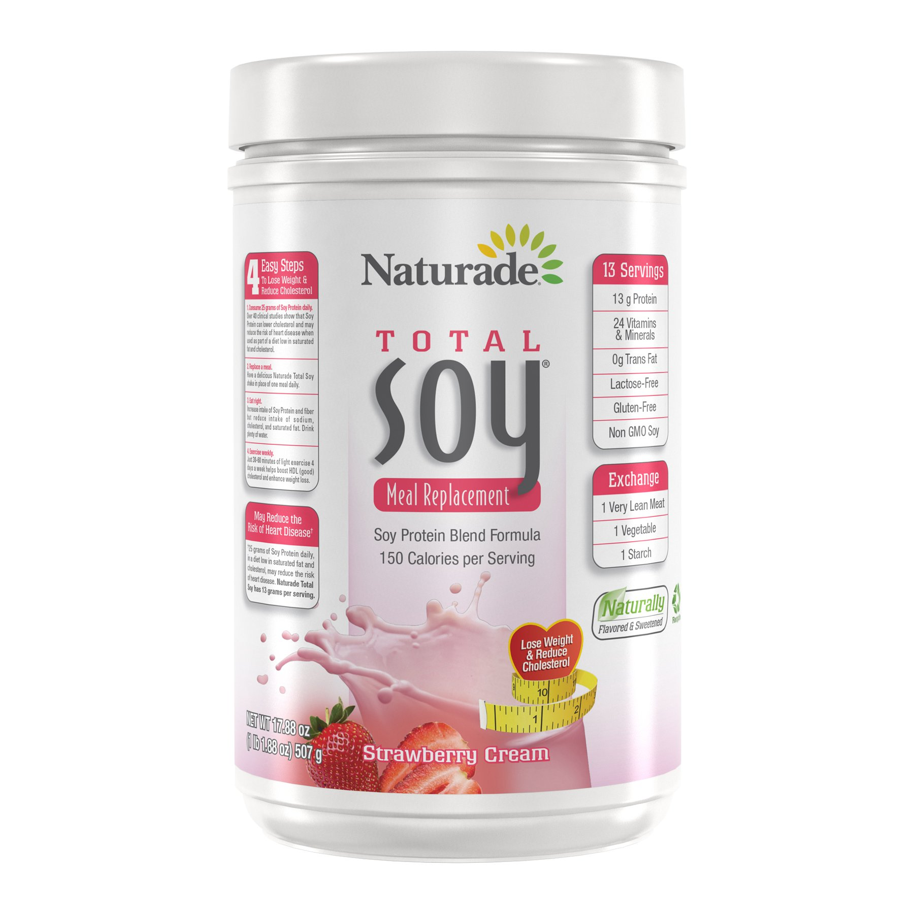 Naturade Total Soy All-Natural Powder – Strawberry Creme – 17.88 oz