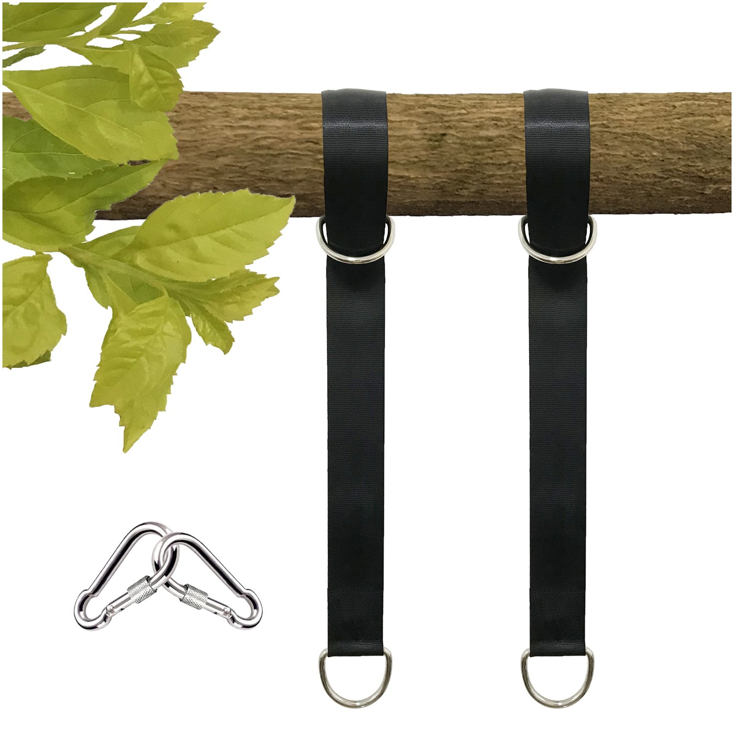 Tree Swing Straps Hanging Kit, 4FT, Holds 2600 lbs, 2 Heavy Duty Carabiners Included, Outdoor Swing Hangers-Perfect for Hammocks, Tire and Saucer Swings with Easy Installation