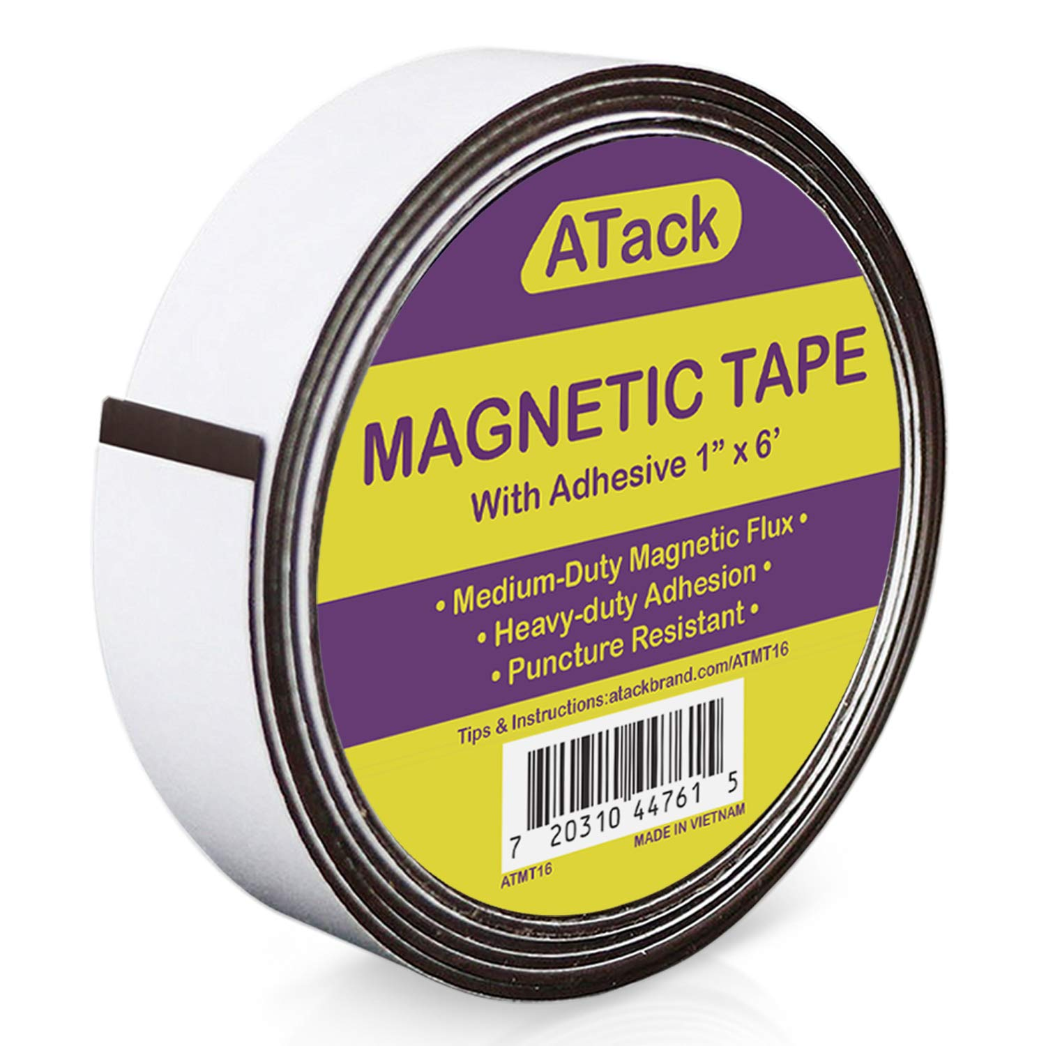 ATack Magnetic Tape Strip Roll, 1-Inch x 6-Foot, Self-Adhesive, Peel and Stick on Double-Sided Magnet Strips for Fridge, Crafts and DIY Projects
