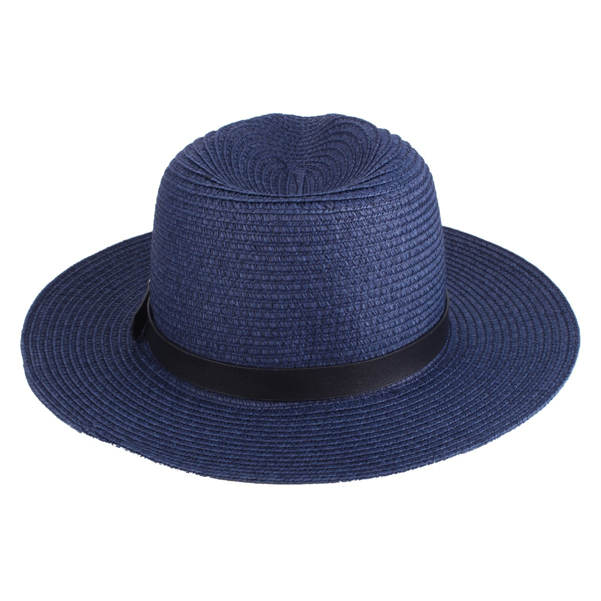 Stroh Panamah/üte Unisex Beach Sun Hats UV Protection Foldable Paper Weaved Hats with PU Leather Belt