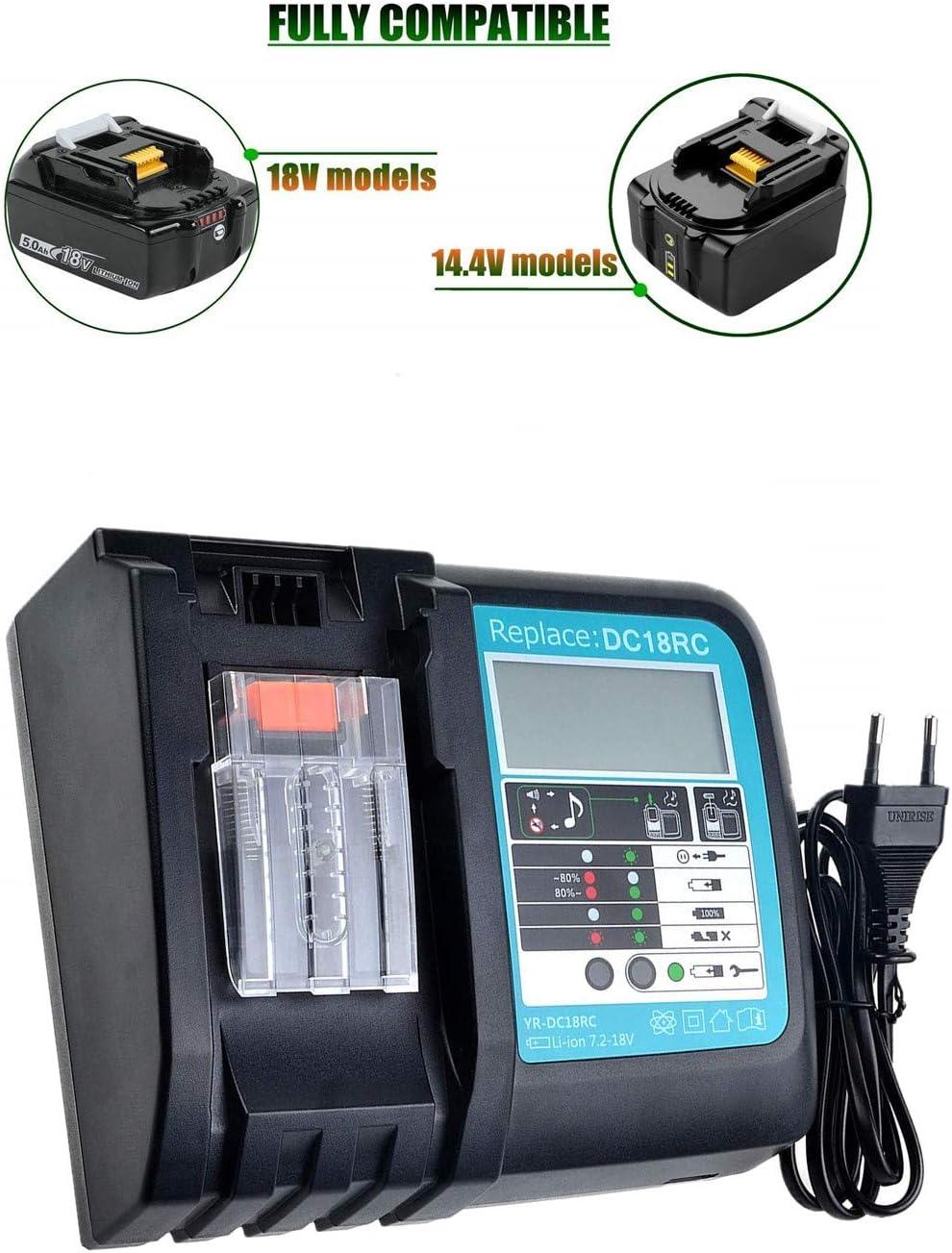 Ersatz 18V Ladeger/ät f/ür Makita Lithium-Ionen Akku mit LED Indikator Multifunktion USB Schnell-Ladeger/ät
