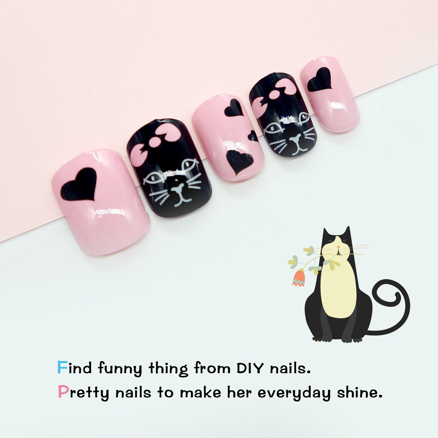 Amazon.com : False Nails for Kids 24 Pcs Pre-glue Press On Girls ...