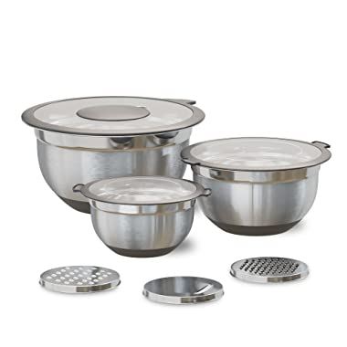 Stainless Steel Mixing Bowls with Lids (3-Piece Set) Transparent Lids   Heavy-Duty, Nested Stacking   Non-Slip Silicone Bottoms   Kitchen Ready Grater Attachments   1.5, 3, 5 Quart