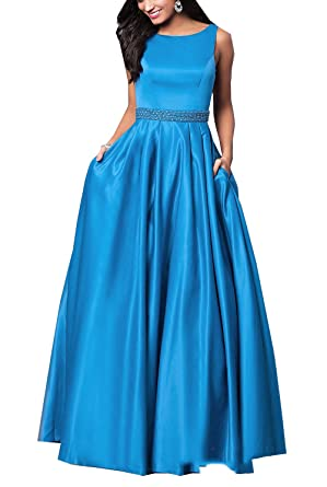 Geshun Womens Satin Prom Dresses Long With Pocket Sleeveless Evening Ball Gown Formal Blue US2