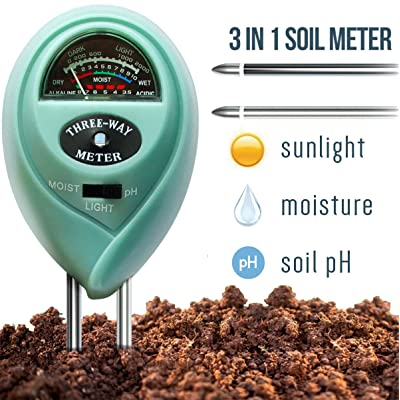 7Pros Soil Test Kit Moisture Meter 3 in 1 Plant Water Meter Light Tester for Potted Plants, Soil PH Meter for Garden, Farm, Lawn Indoor/Outdoor Plant Care Tool, Easy Read Indicator No Battery Needed : Garden & Outdoor