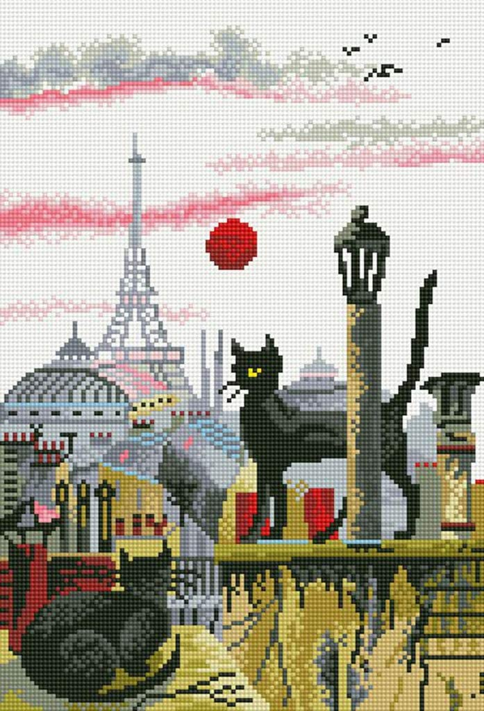 16x22 Cat and Castle 5D Diamond Painting Kits Full Round DIY Cross Stitch Pattern Rhinestone Embroidery Kits Arts Craft Wall Sticker