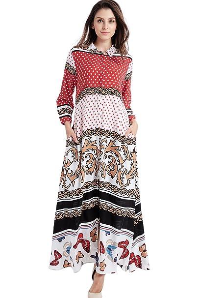 ca4377d0f901 Camisa de Vestir de Manga Larga de Estilo Boho para Mujer Vestidos ...