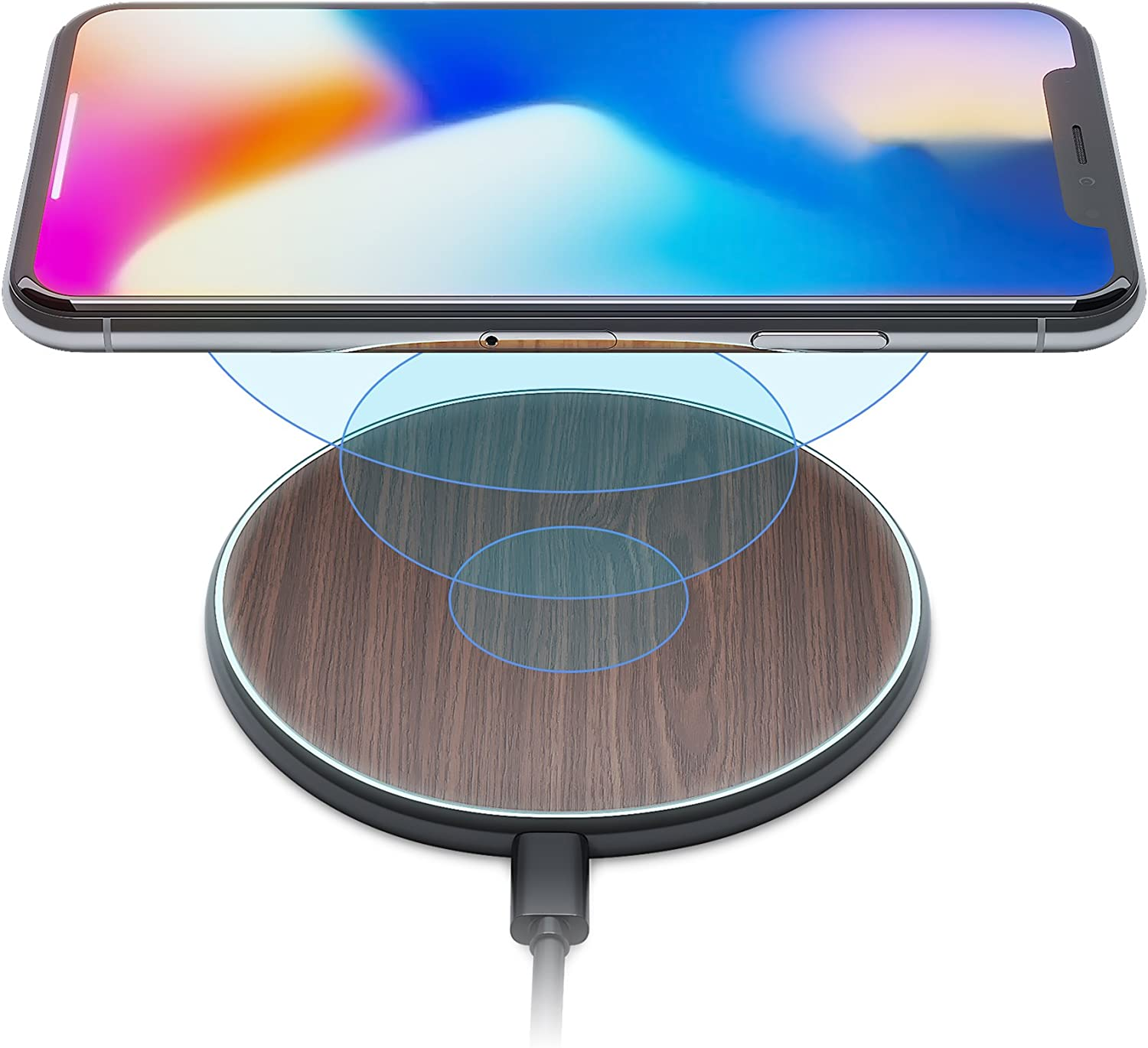 iPhone X 8 Qi Best Wireless Charger Pad Kit by Wuteku New 2019 Upgraded Stylish Natural Bamboo Wood Look Thin Slim Design Compatible Samsung and