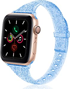 TSAAGAN Glitter Slim Silicone Band Compatible with Apple Watch 38mm 42mm 40mm 44mm, Sparkly Bling Thin Replacement Wristband Accessory for iWatch Series 5/4/3/2/1 (Glitter Lake blue, 38mm/40mm)