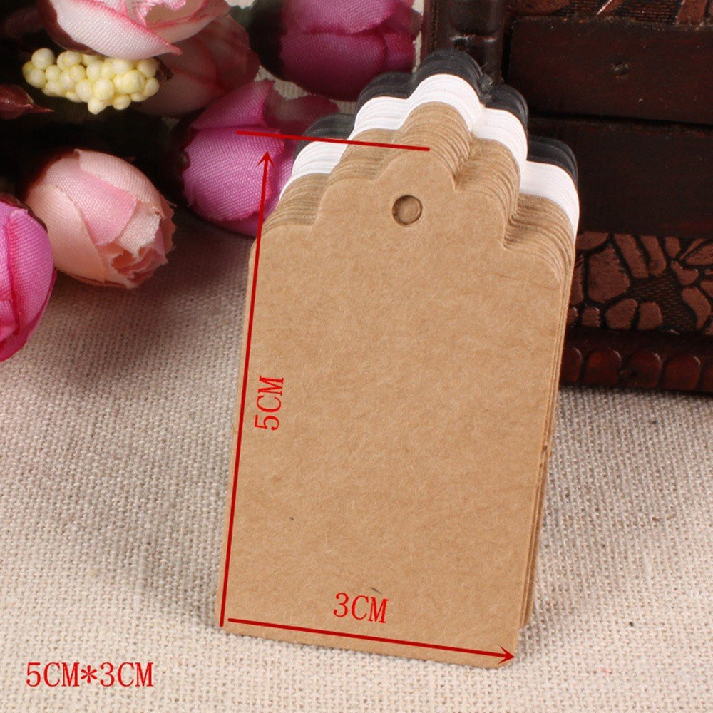Kraft Paper Favor Gift Hang Tags Craft Paper Tools Cards Bonbonniere Merchandise Decoration Bookmarks Note Christmas Wedding Party Decorating Material 3x5cm (1.2x2 inch) (3500 Pieces, White)