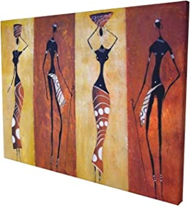 African American Tribe Lady Canvas Wall Art Dector Giclee Printed Pictures Wall Decor - Lady Orange For Living Room Bedroom Framed Ready To Hang 12x16 Inch