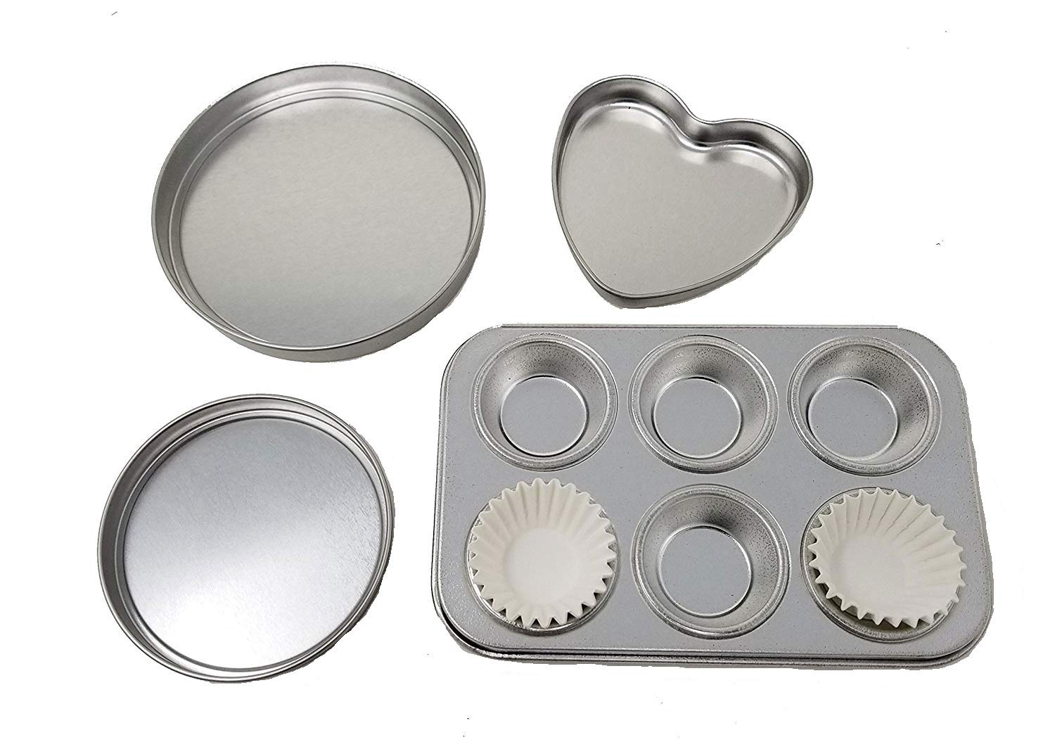 4 Pan Kit to fit Easy Ovens Bake , Heart Pan, 2 Round Pans & 1 small extra rectangle pan replacements by E&Bake