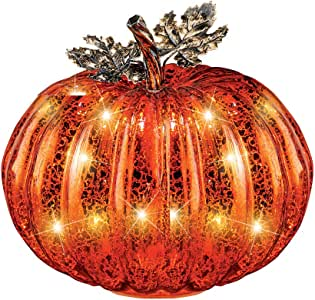 Collections Etc Festive Lighted Glass Pumpkins Indoor Fall Tabletop Décor, Large