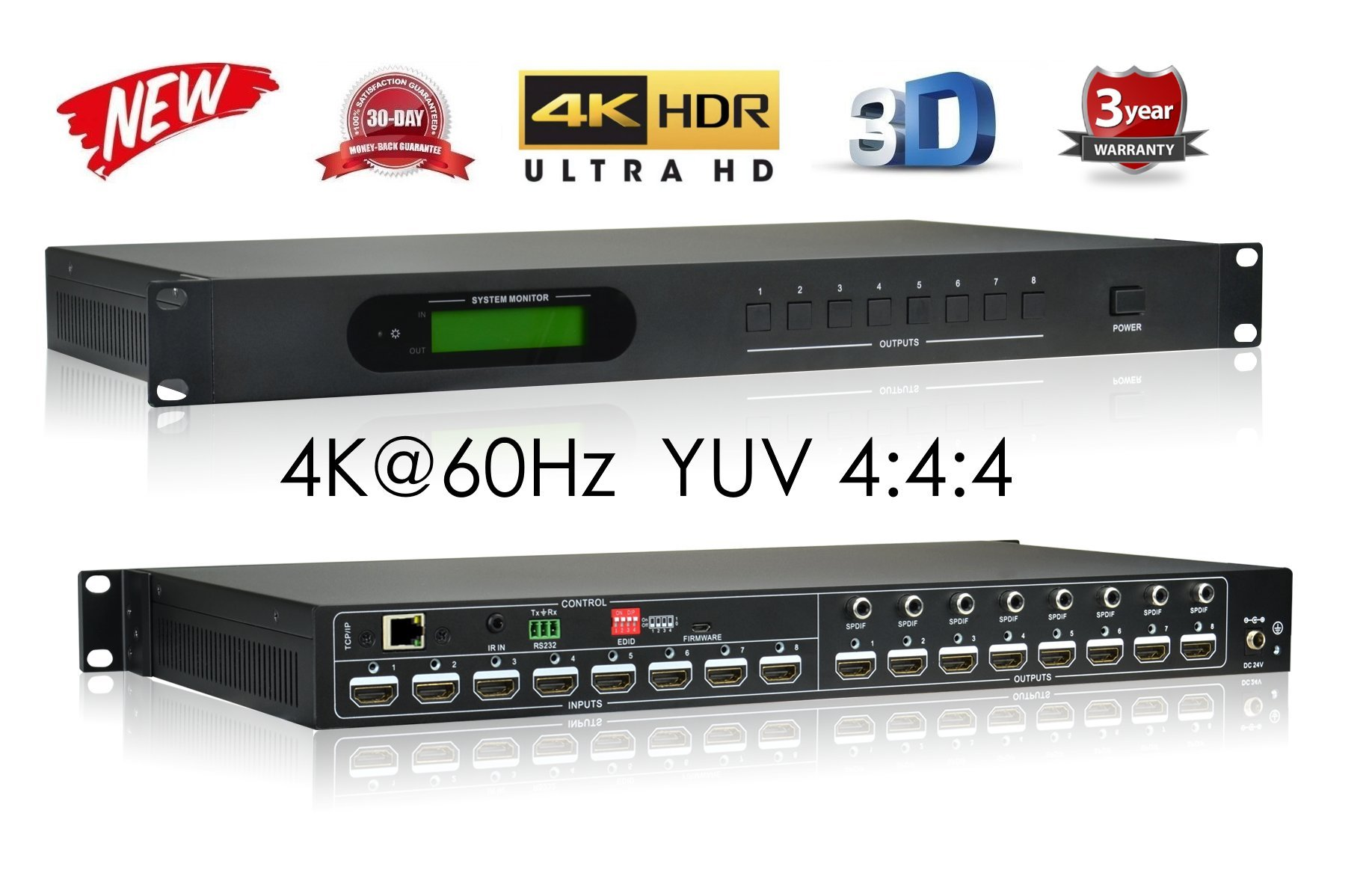 8x8 HDMI 2.0B 18GBPS ULTRA HDR 4K MATRIX SWITCHER YUV 4:4:4 HDCP2.2 HDTV ROUTING SELECTOR SPDIF AUDIO CRESTRON CONTROL4 SAVANT HOME AUTOMATION