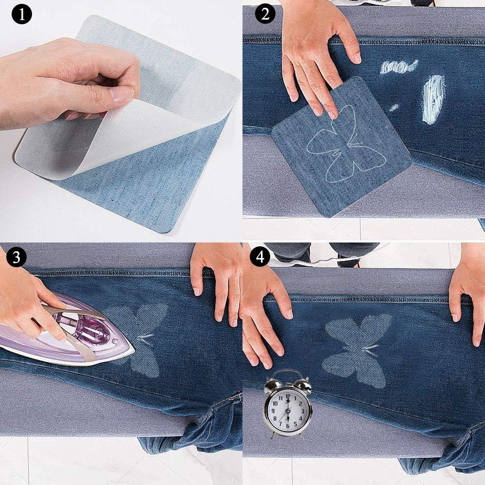HO2NLE 21Pcs Parches Termoadhesivos Vaqueros Parches Jeans Patch Stickers Ropa Con Kit de Reparación de Tela Para Pantalones Vaqueros Reparación ...