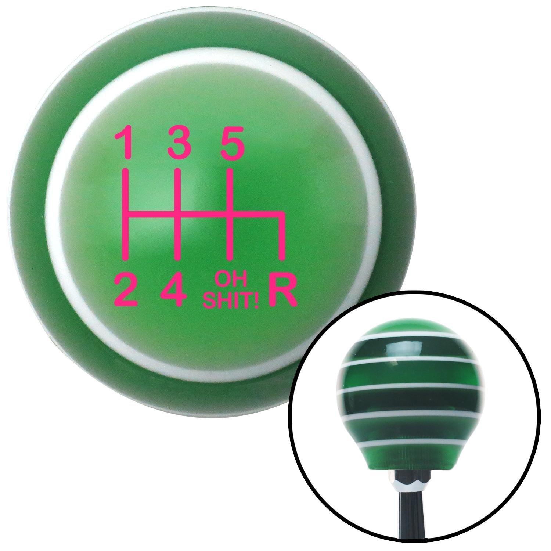 American Shifter 127577 Green Stripe Shift Knob with M16 x 1.5 Insert Pink Shift Pattern OS41n
