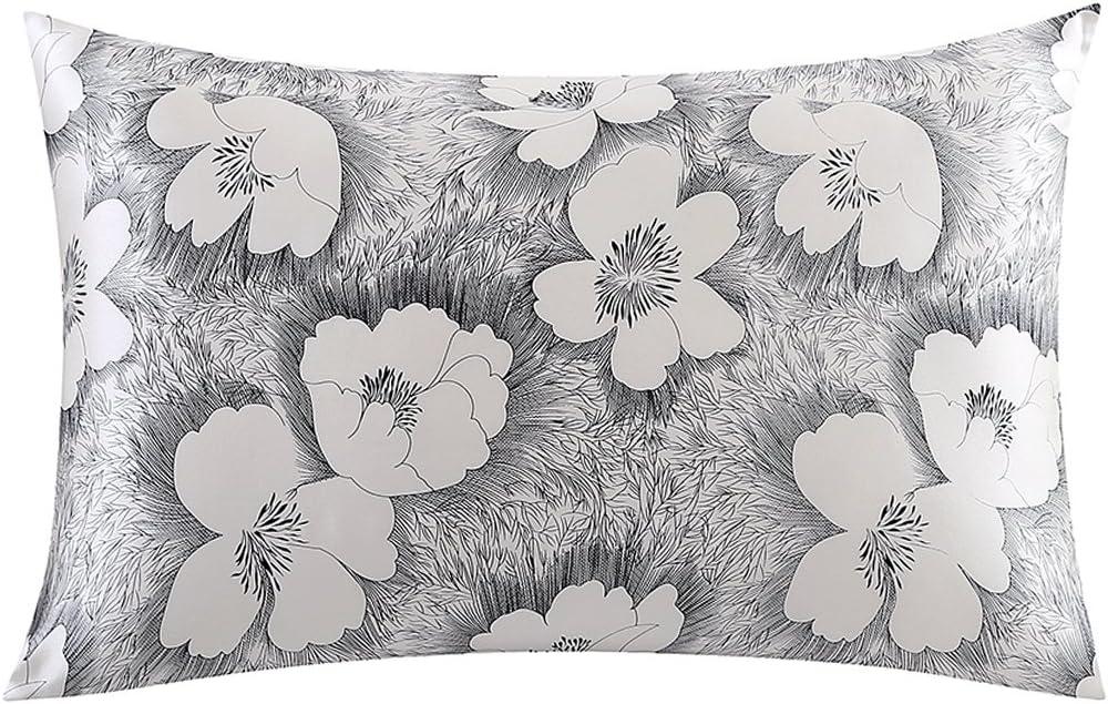 ZIMASILK 100% Natural Silk Pillowcase for Hair and Skin Health, Floral Print,1pc (Queen 20''x30', pattern10)