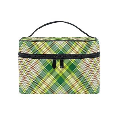 Cosmetic Bag Green Plaid Gingham Checkered Women Makeup Case Travel Storage Organizer