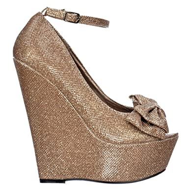 bc3d7e03a534 Onlineshoe Ladies Womens Glitter Wedge Platform Shoes Ankle Strap - Peep  Toe Bow - Gold