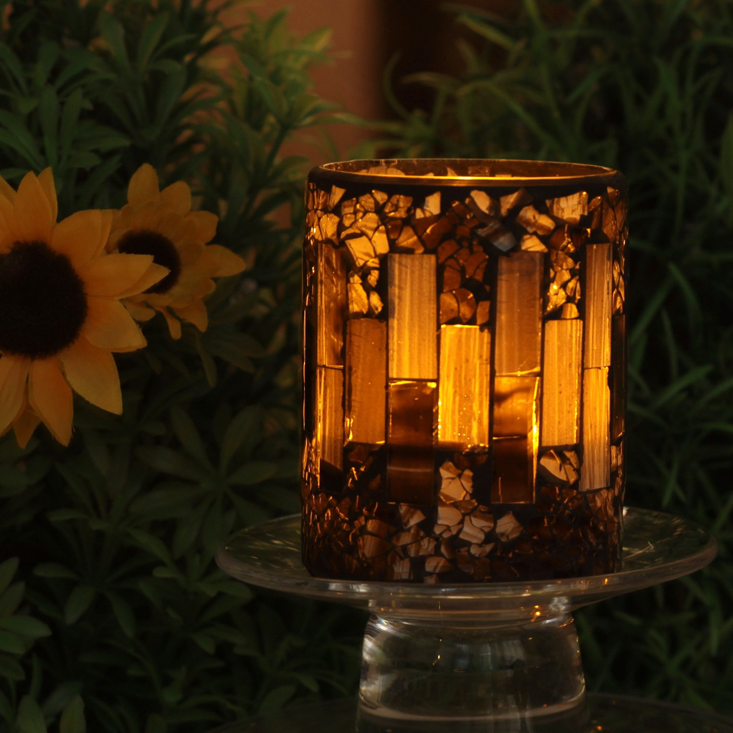 GiveU Brown Mosaic Flameless Candle,Pillar Led Candle with Timer, 3X4, for Home Decor, Weddings, Party and Awesome Gift