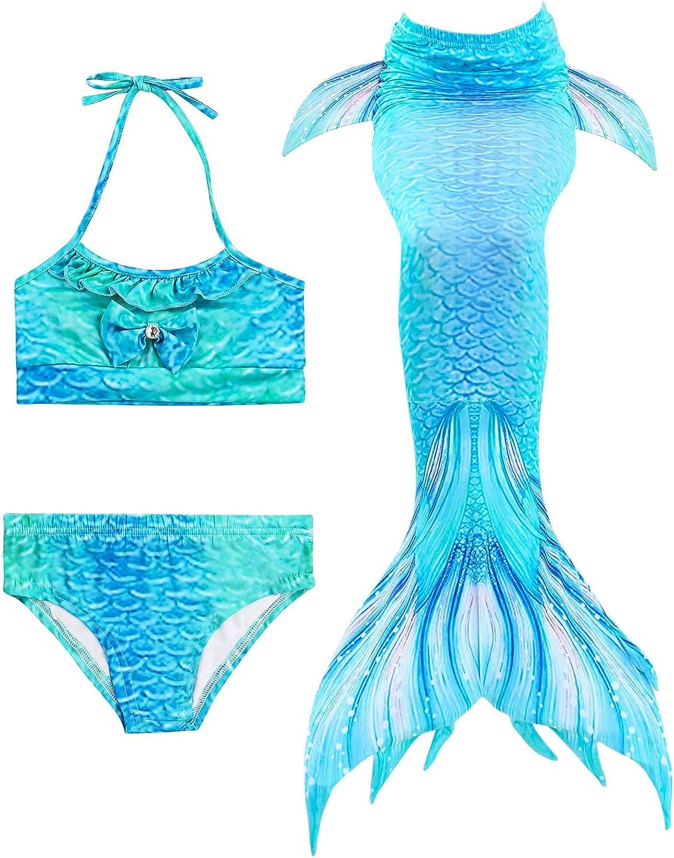 Hifunbay M/ädchen Meerjungfrau Schwanz Kinder schwimmbar 5PCS Bikini Schwimmen Kost/üm mit Monoflosse und Blumengirlande Stirnband