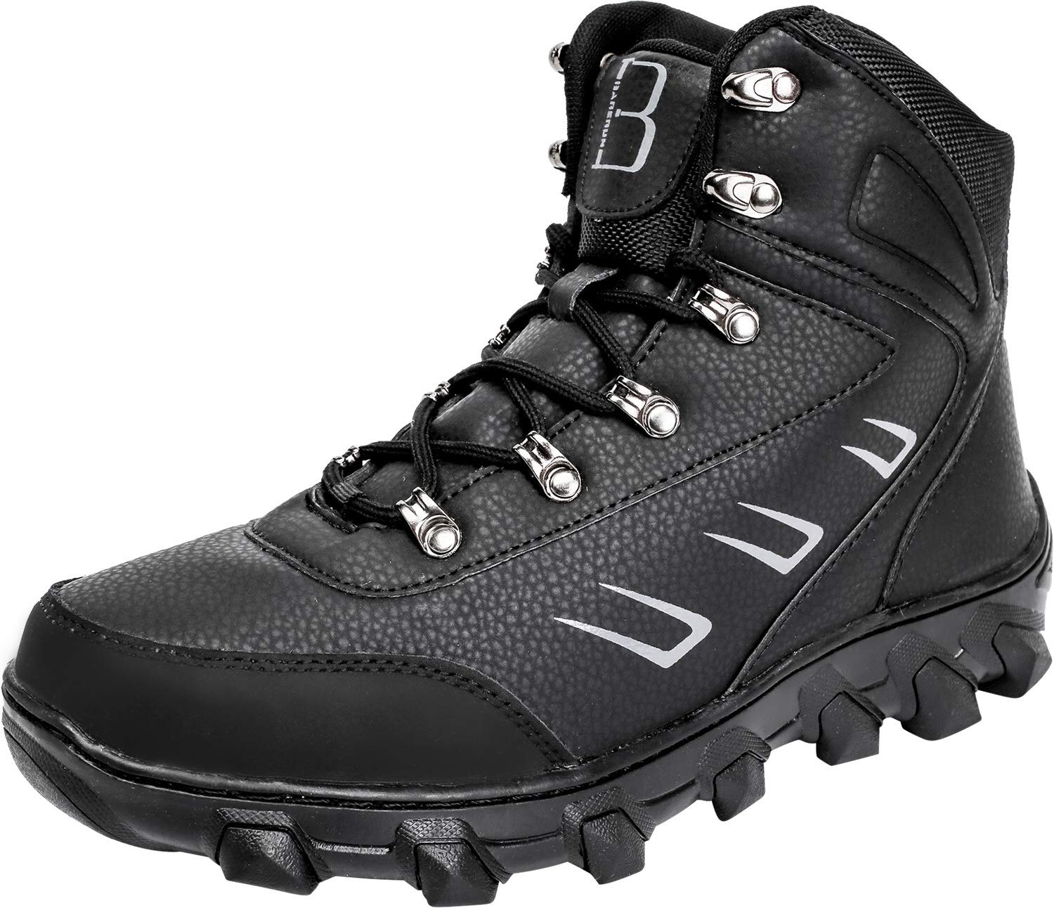Barerun Mens Leather Snow Boots Lace Up High Top Winter Shoes Black 15 D(M) US