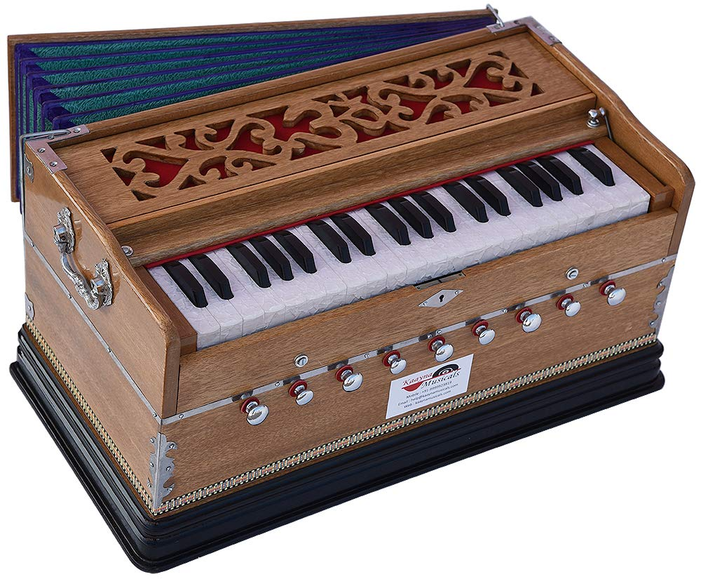 OM Harmonium Pro Grade By Kaayna Musicals, Teak Colour, 9 Stop- 5 Main & 4 Drone, 3¼ Octaves, Coupler, Gig Bag, Bass/Male Reed Tuned- 440Hz, Best for Peace, Yoga, Bhajan, Kirtan, Shruti, Mantra, Drone by Kaayna Musicals