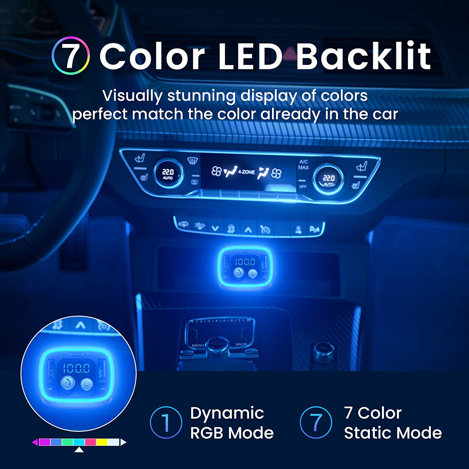 AINOPE Bluetooth for Car Adapter Wireless Call 36W//6A PD/&QC3.0 Bluetooth FM Transmitter 7-Colors LED Backlit V5.0 Bluetooth Radio Transmitter for Car