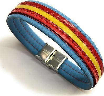 YOJAN PIEL Pulsera De Cuero Bandera De España (Fabricada Artesanalmente) (Azul Claro): Amazon.es: Joyería